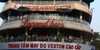 Check out Highlands on the 3rd floor, top of Hoan Kiem Lake Hanoi - excellent view of the traffic, lake and people.