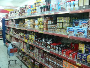 You know how we have a row of breakfast cereal in our supermarkets, well in Hanoi they have a row of Coffee !!
