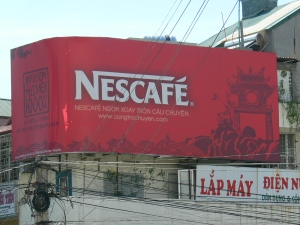 Nescafe coffee sign in Hanoi, Vietnam
