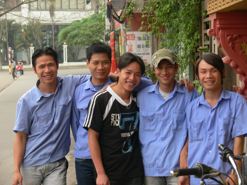 5 Vietnamese young men are work mates in a restaurant in Trúc Bạch Lake, Hanoi