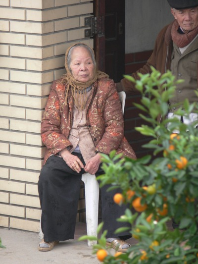 A Vietnamese older lady with man standing at her side sits with a view of a Kumquat tree a few days before Tet.