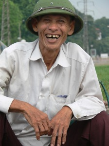 My favorite guy - a Vietnamese man I met outside Long Bien Market.