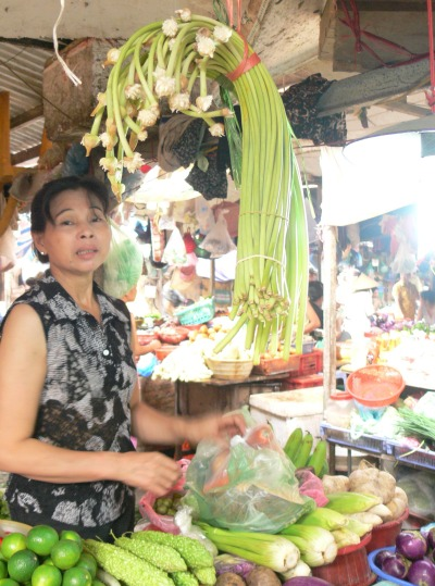 Buying from my favorite veggy stall in Chau Long Market, the lady asks what else ?