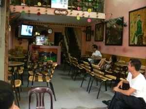 Typical cafe but hardly no customers at moment as everyone still at work.